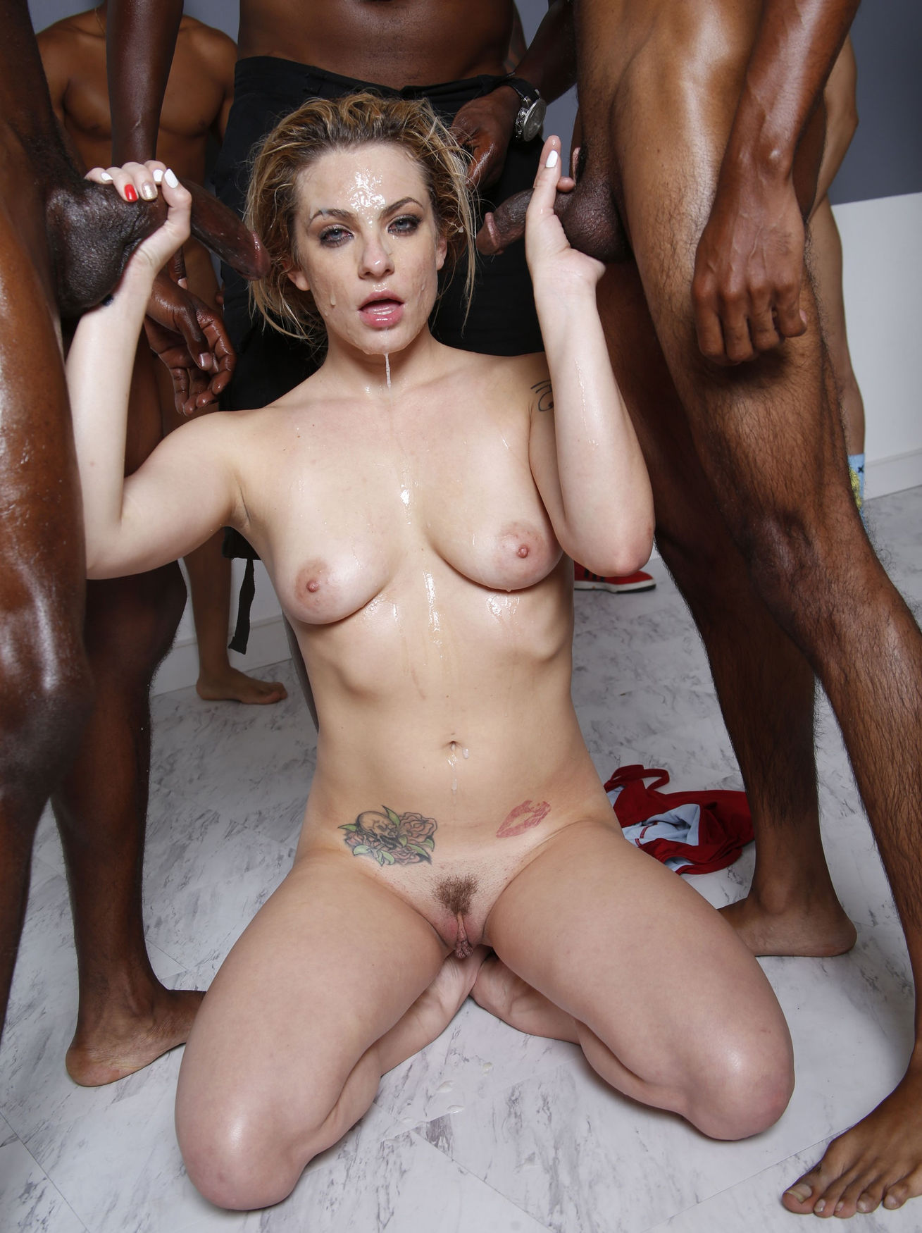 Surrounded by black cocks
