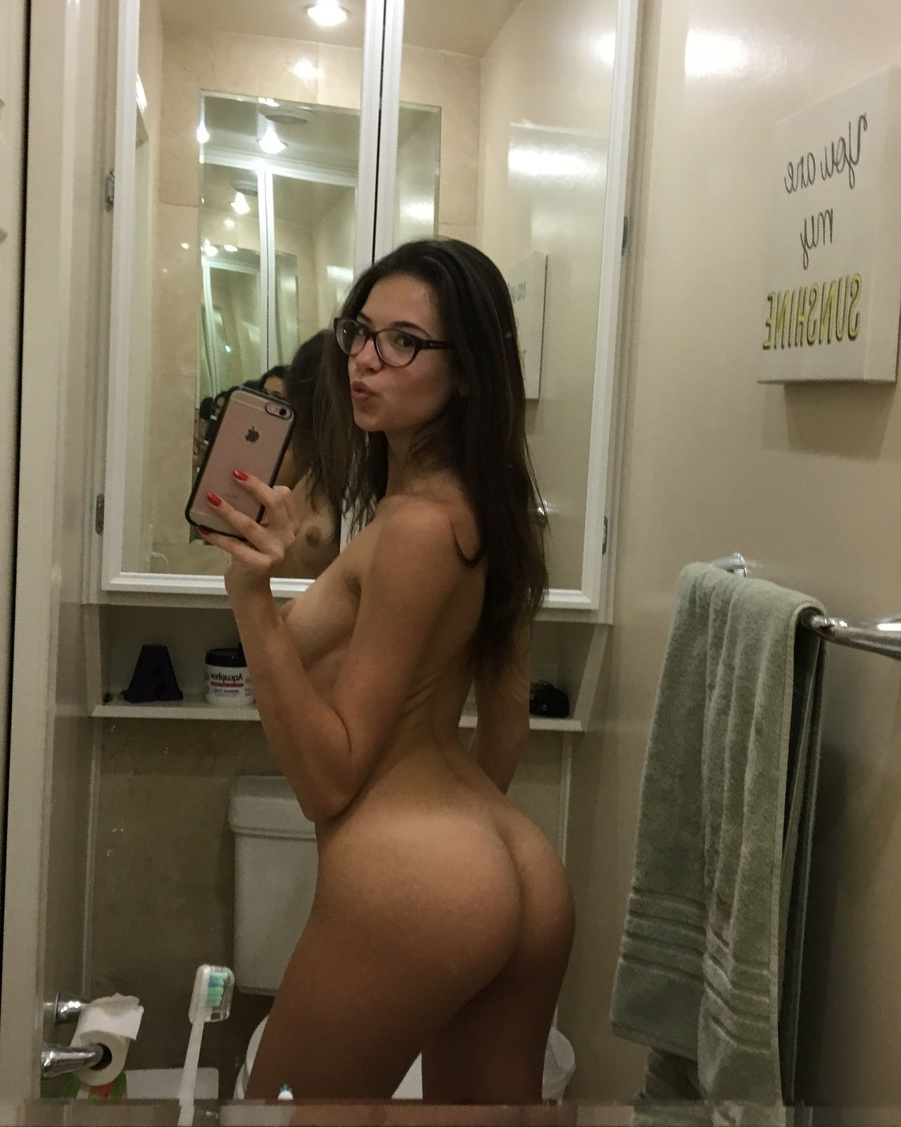 Horny Slut Jennifer Takes Topless Selfie And Bares Ass In Thing For Self Shot