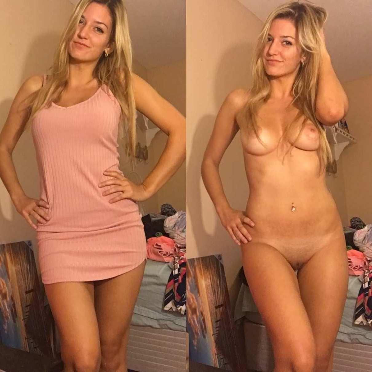 Beautiful amateur girl presents her natural tits and shaved pussy