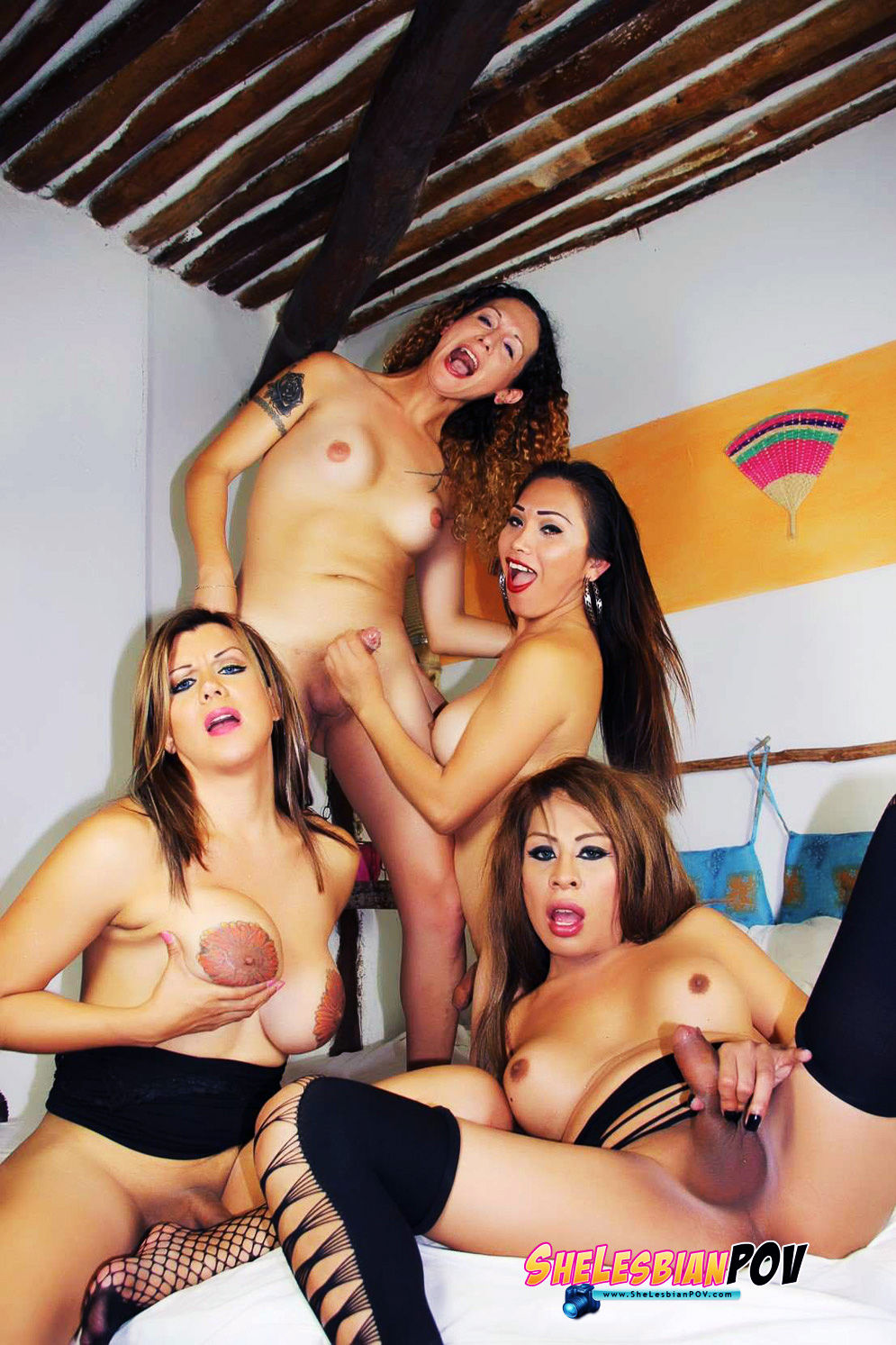 Nikki Montero, Nina StrongHold,Naomi CHi and TaniaQ have a hot 4some for SheLesbianPOV.