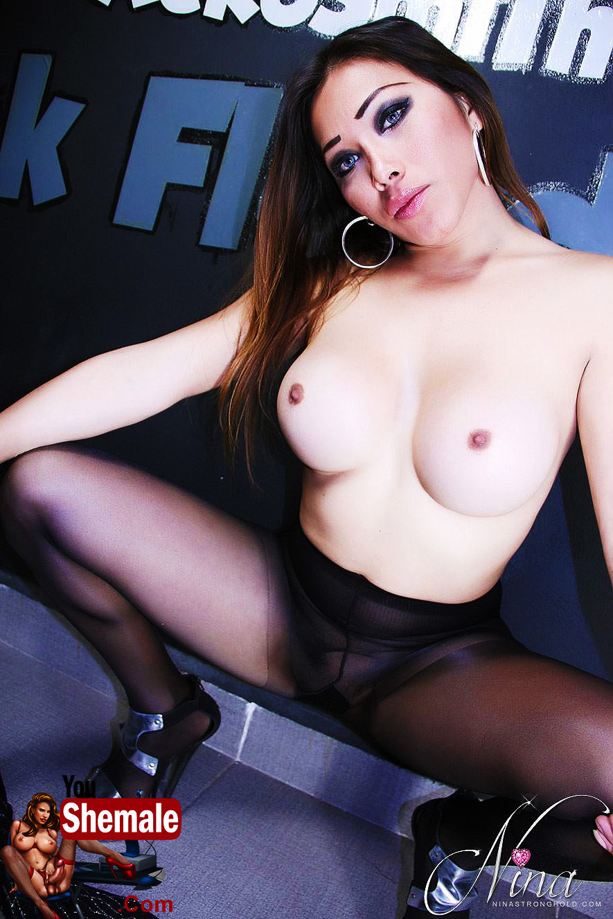 Perfect tits Tranny Nina StrongHold showing her boobs and her cock in pantyhose. Come and play w ...