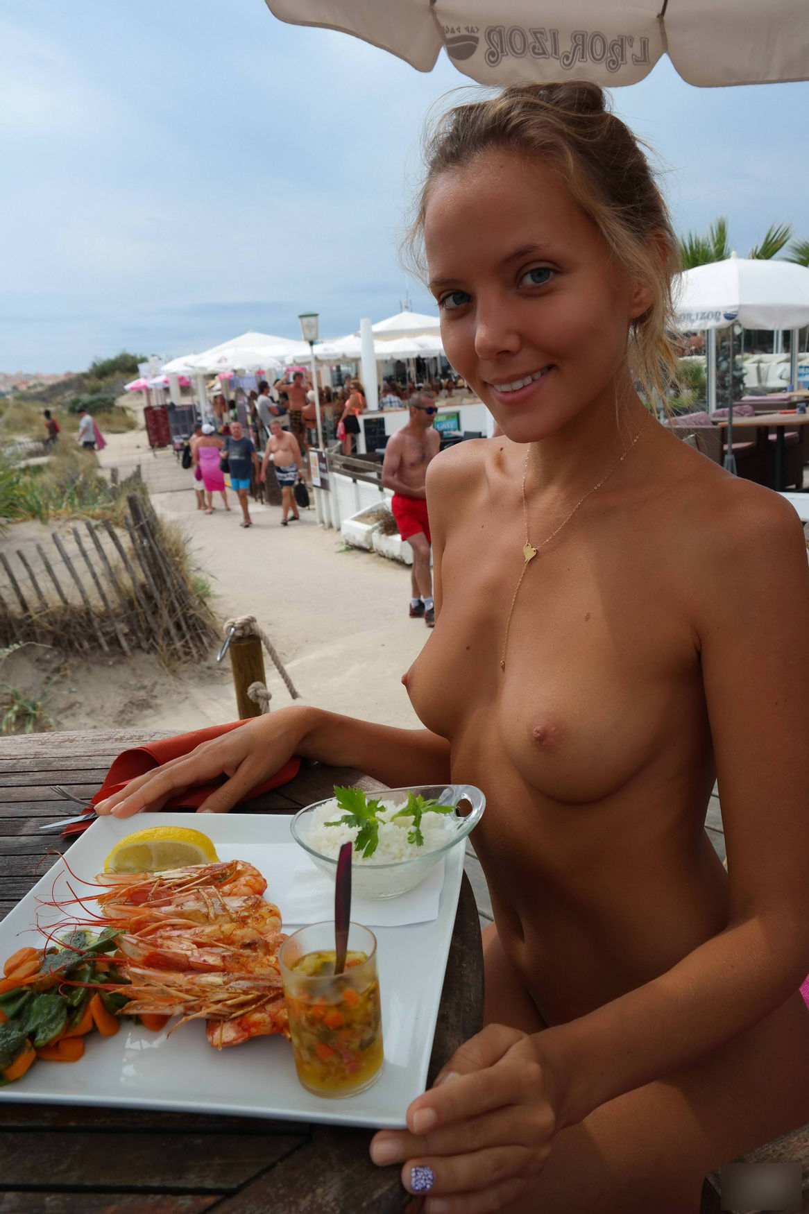 Enjoying seafood by the sea