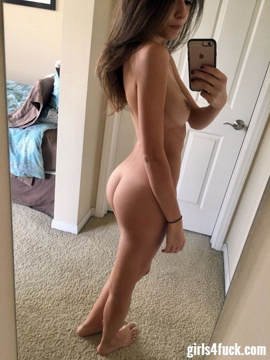 Hot teen chick doing selfie for her profile at sex dating site