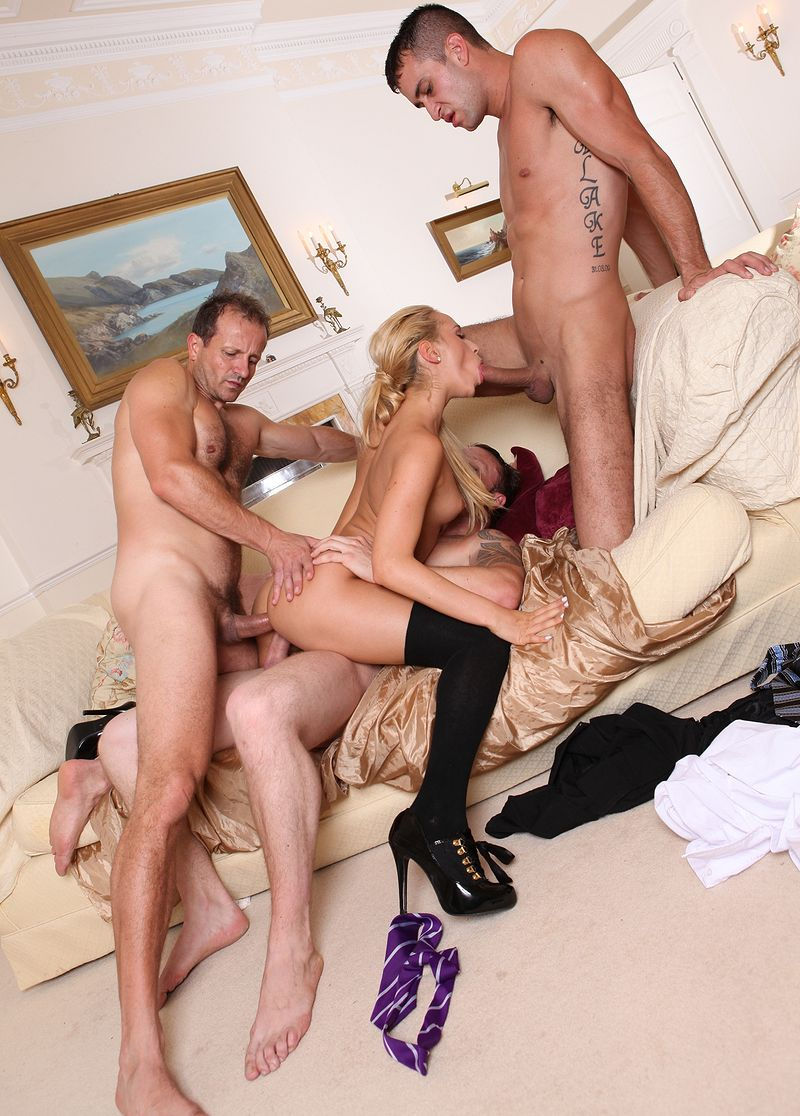 Three guys on one slender blonde
