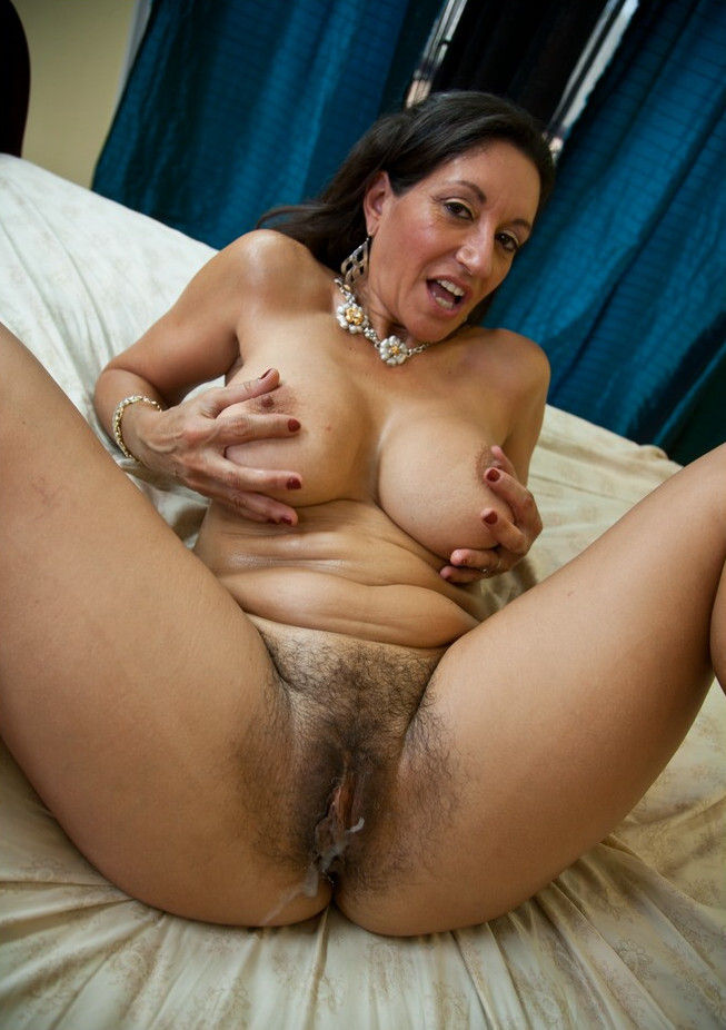 Hairy grandma got ejaculated on! This old nympho hairy bitch needs to be fucked every 6 hours.