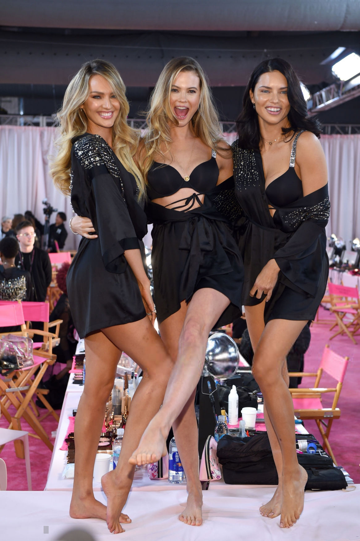Adriana Lima, with Behati Prinsloo and Candice Swanepoel, backstage at the vsfs 2018, NYC, 8/11/ ...