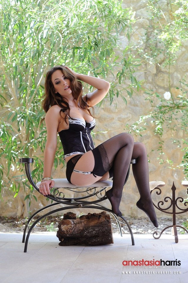 Lingerie and black stockings