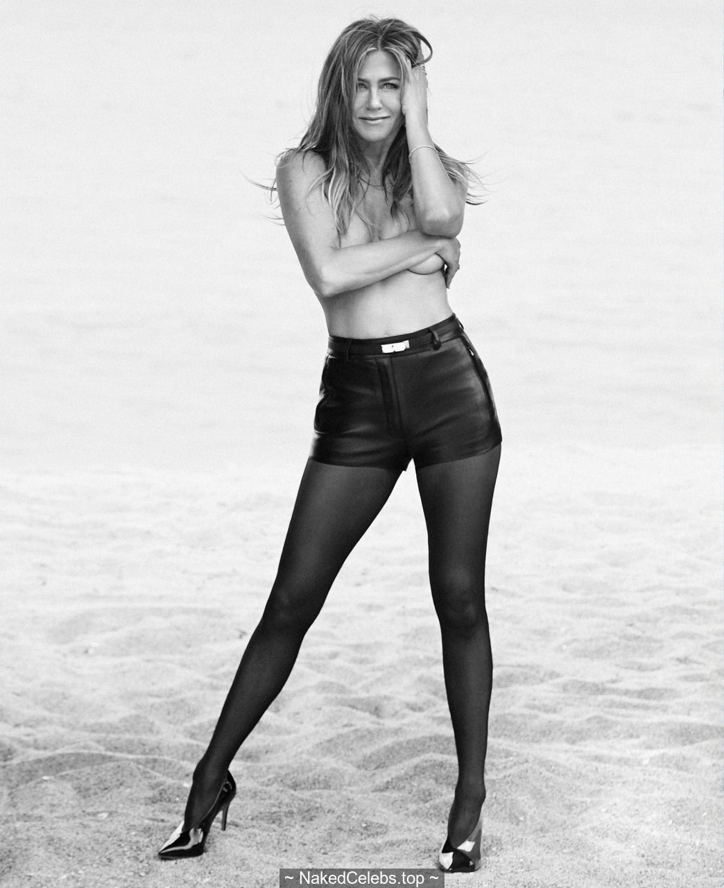 Jennifer Aniston topless but covered for Harper's Bazaar, US June/July 2019