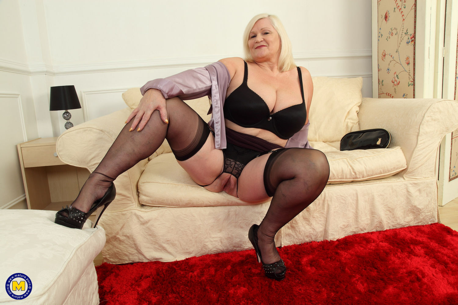 big breasted curvy British housewife hairy pussy in nylon stockings and underwear