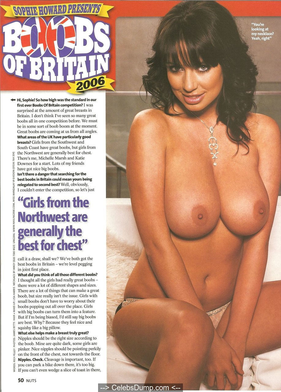 Busty Sophie Howard topless in Nuts Magazine