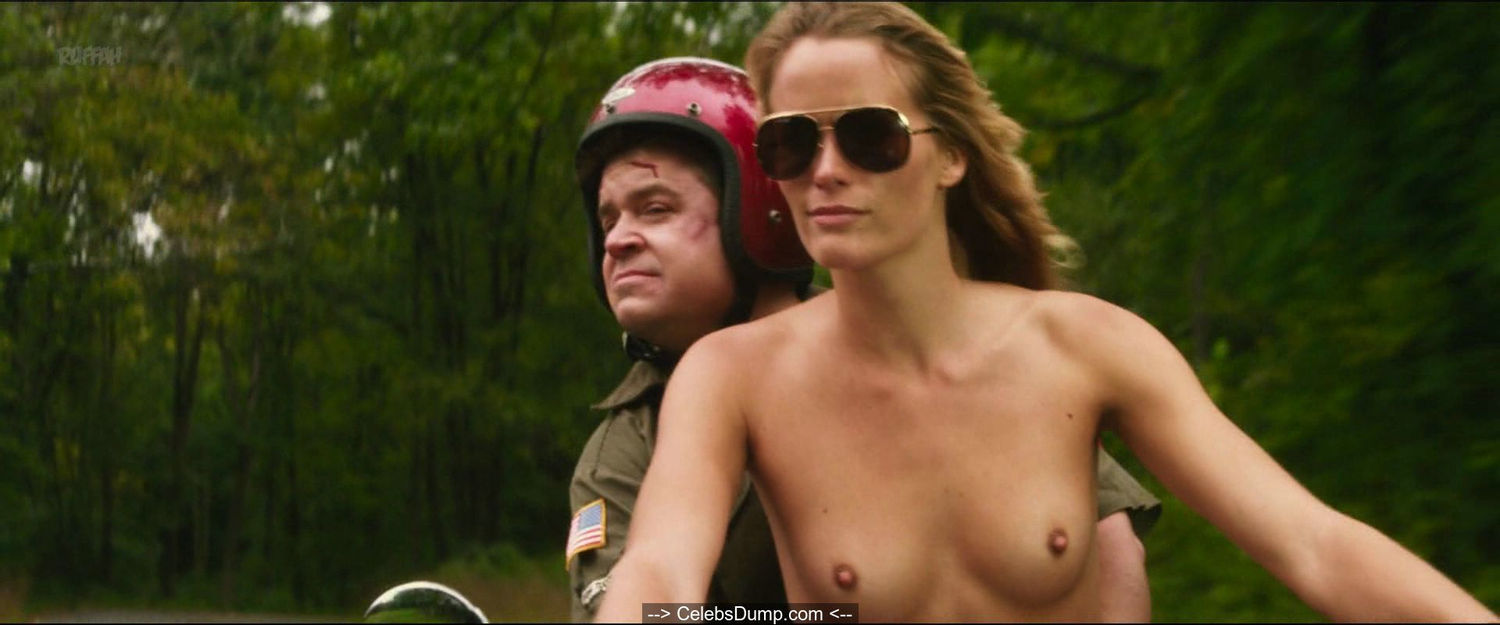 Jill De Jong topless at motorcycle in Nature Calls