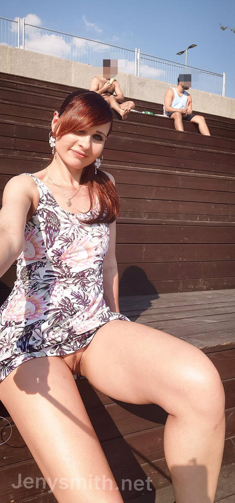 public pantyless upskirt pussy photo of redhead glamour model Jeny Smith