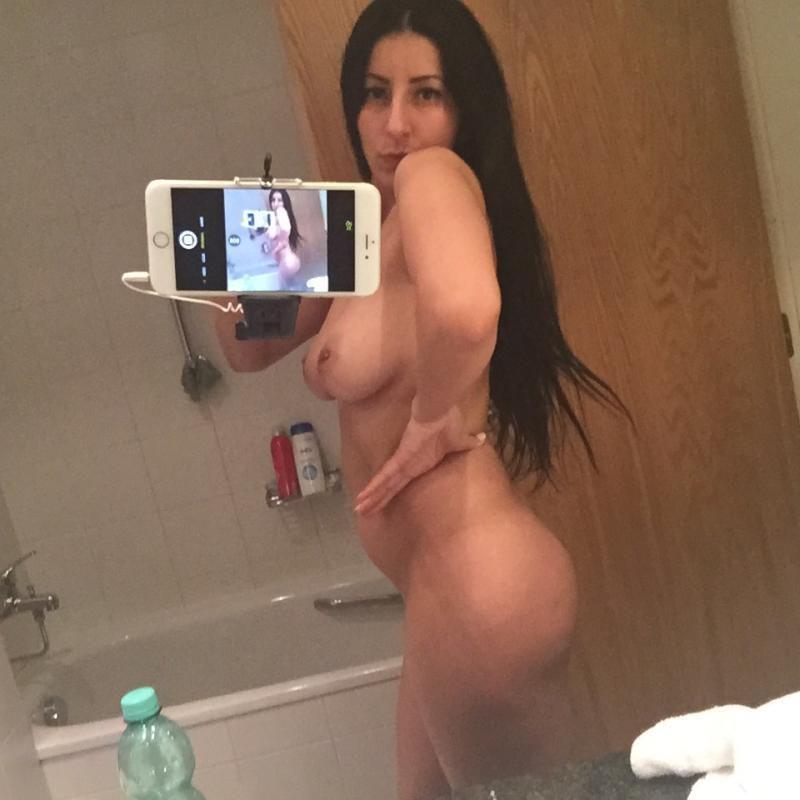 Busty Italian MILF fondles her big tits
