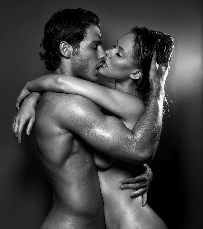 Bold model sexy kiss