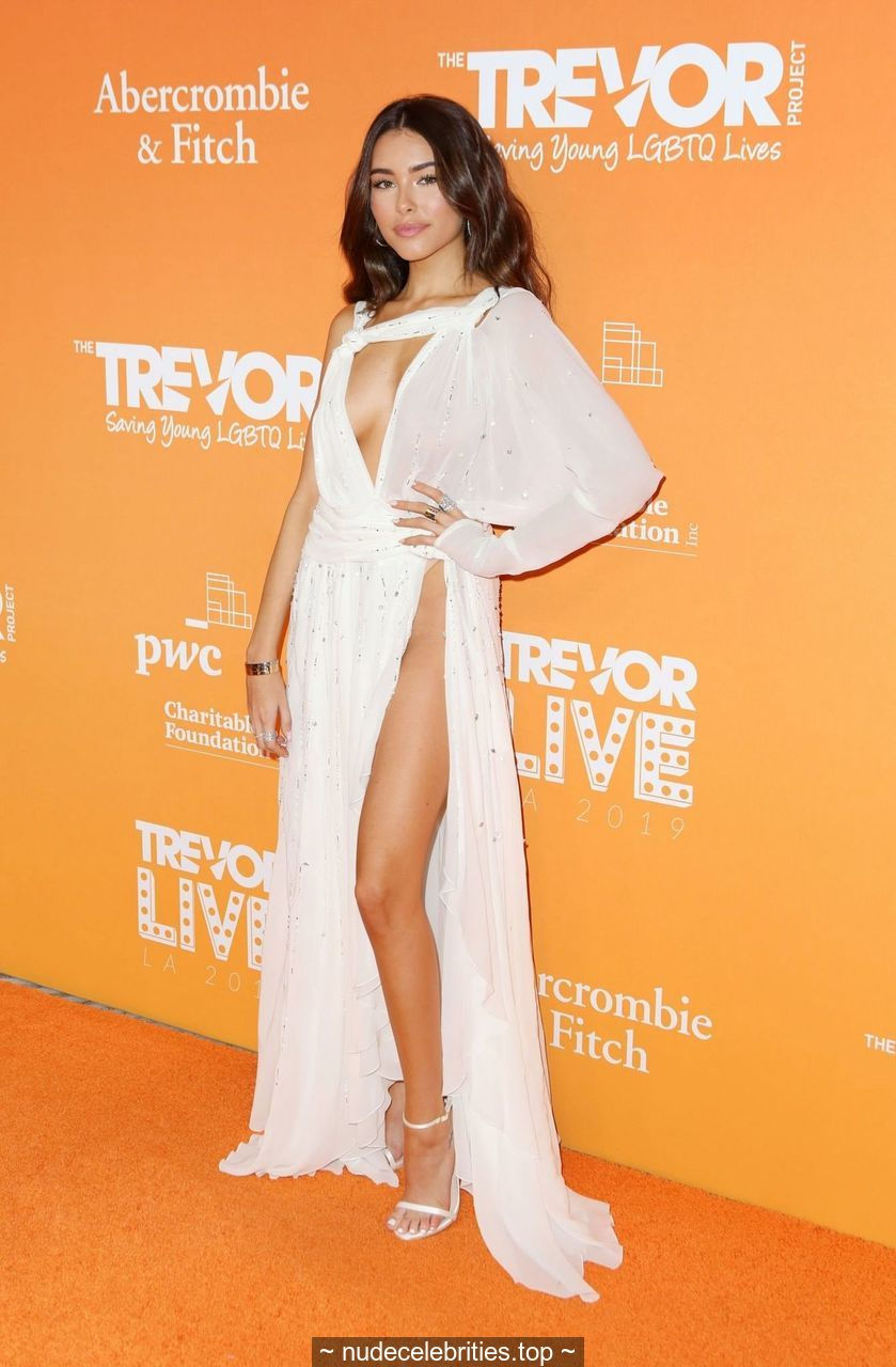 Madison Beer wearing a barely there dress at the 2019 TrevorLive Los Angeles Gala