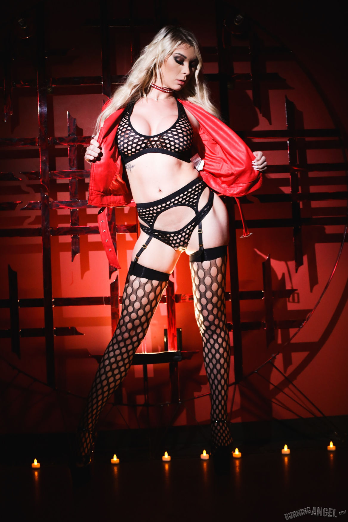 Alternative and goth Burning Angel pornstar Aubrey Kate in leather fishnet stockings and underwe ...