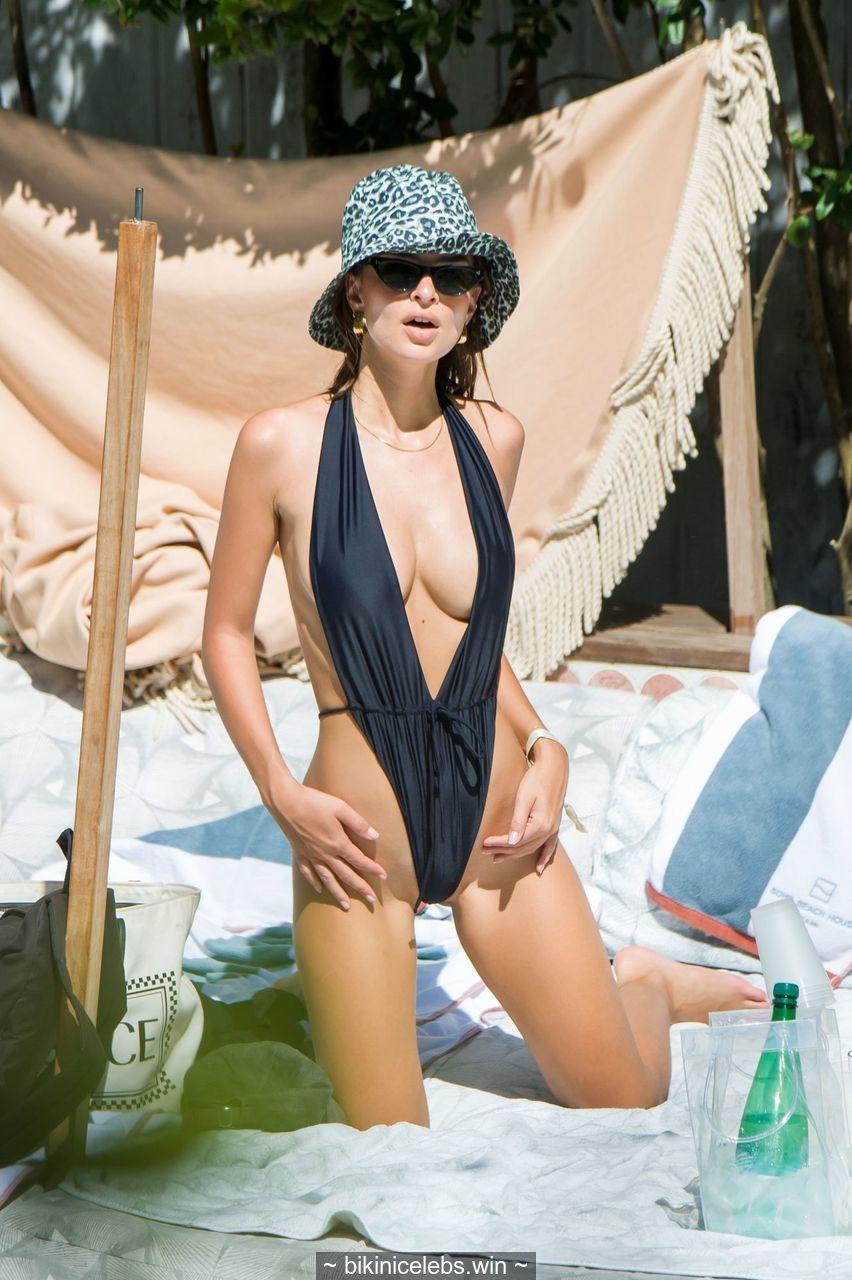 Emily Ratajkowski sexy in monokini in Miami