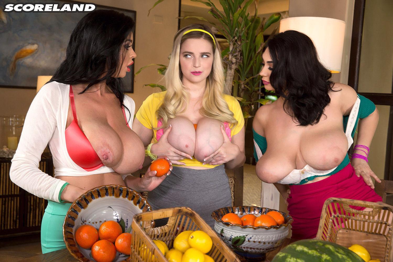 Big boobs of busty pornstars Alexya, Codi Vore and Sha Rizel