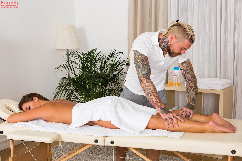Brunette pornstar Amirah Adara gets massage