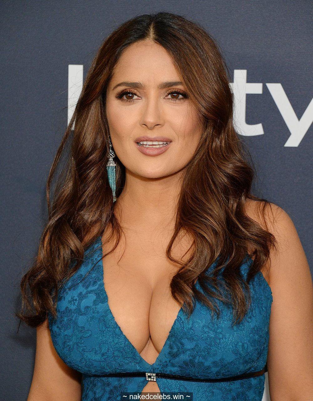 Busty Salma Hayek shows deep sexy cleavage