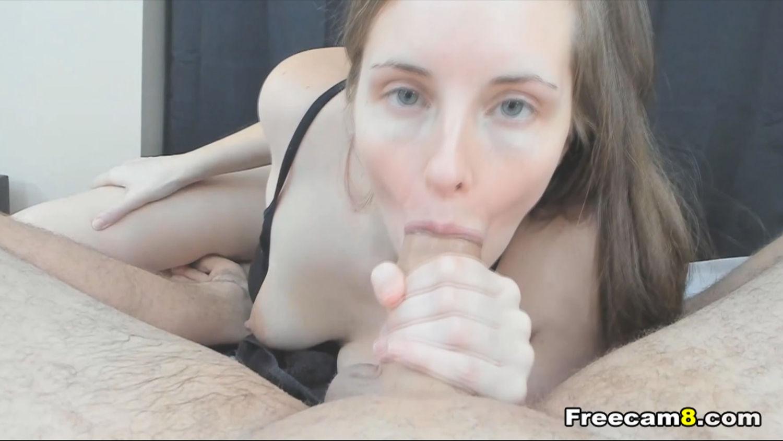 Cute Brunette Sucks Cock POV Style