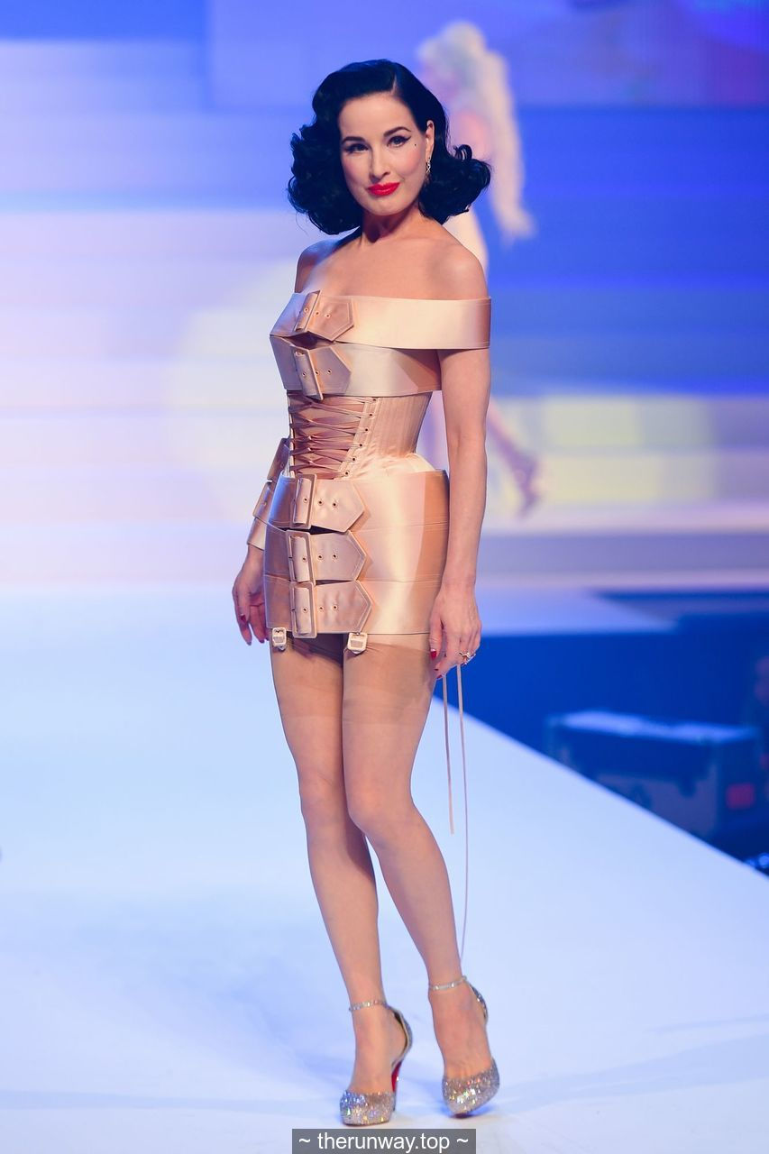 Dita Von Teese walks the runway during the Jean-Paul Gaultier Fashion Show in Paris