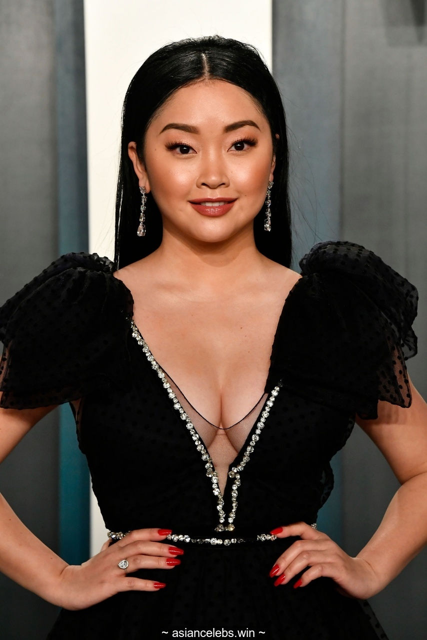 Lana Condor sexy cleavage at Vanity Fair Oscar Party
