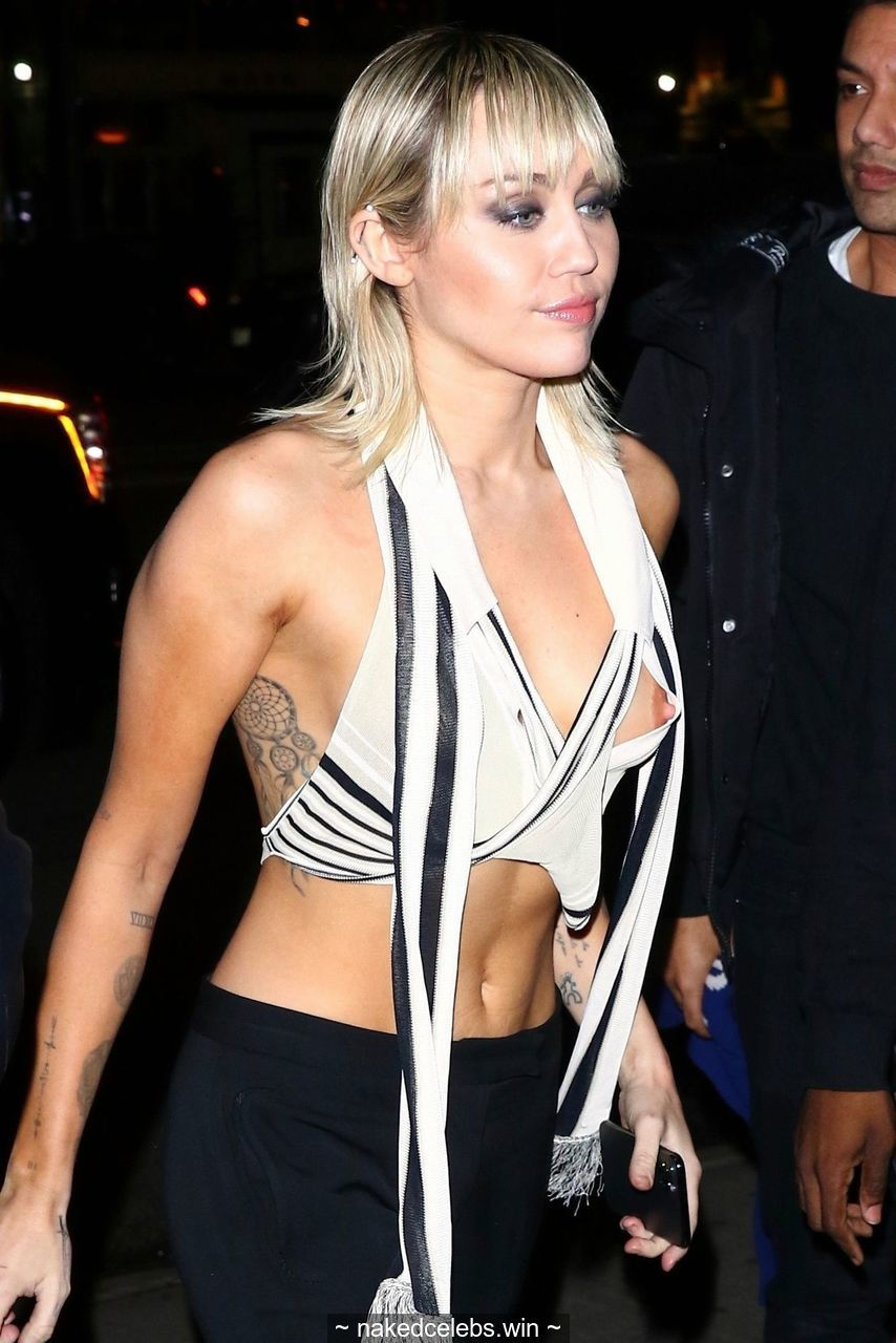 Miley Cyrus nipple slip outside the Bowery Hotel