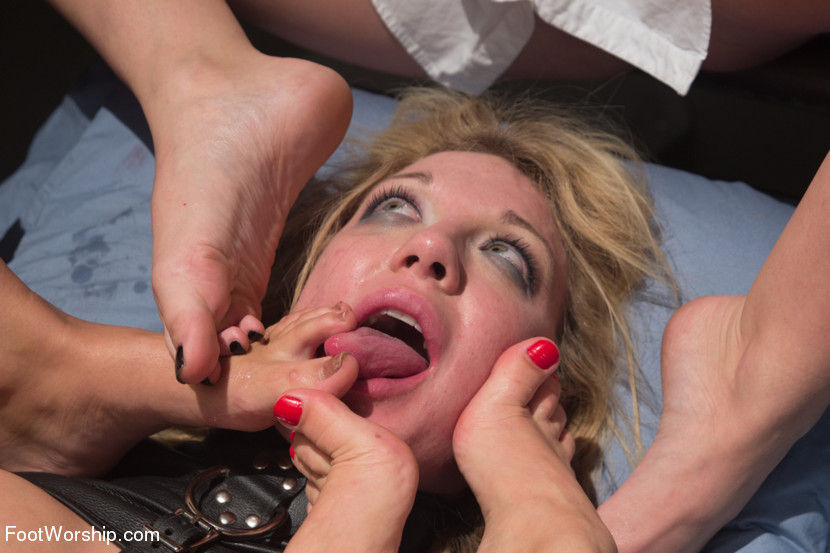 Blonde slave pornstar humiliated in a hardcore lesbian foot fetish gangbang porn video