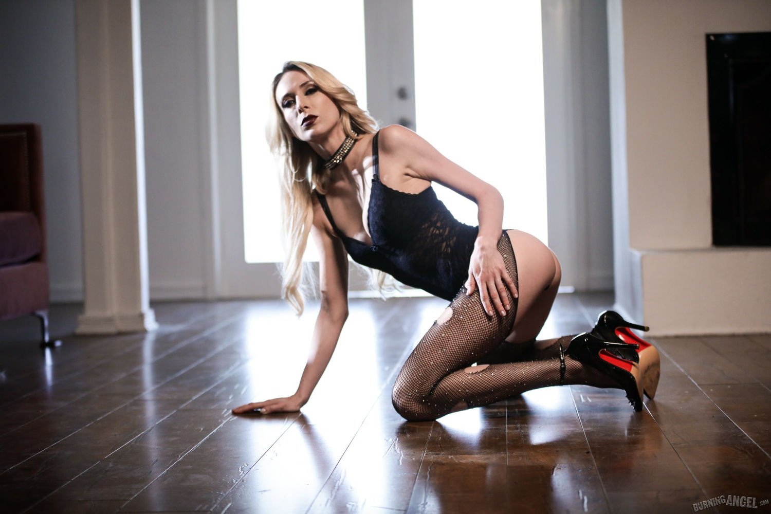 Non nude blonde alt pornstar Aiden Ashley in fishnet pantyhose and lace bodysuit wearing Loubout ...