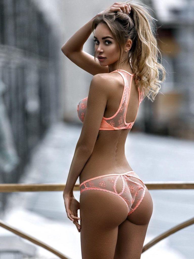 Stunning blonde using lingerie