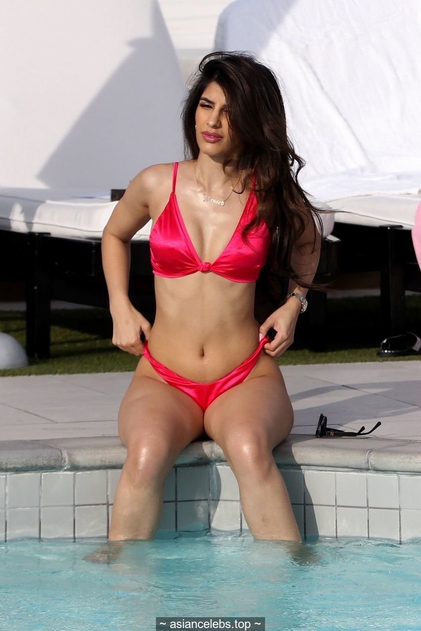 Jasmin Walia sexy in bikini at the pool in Los Angeles