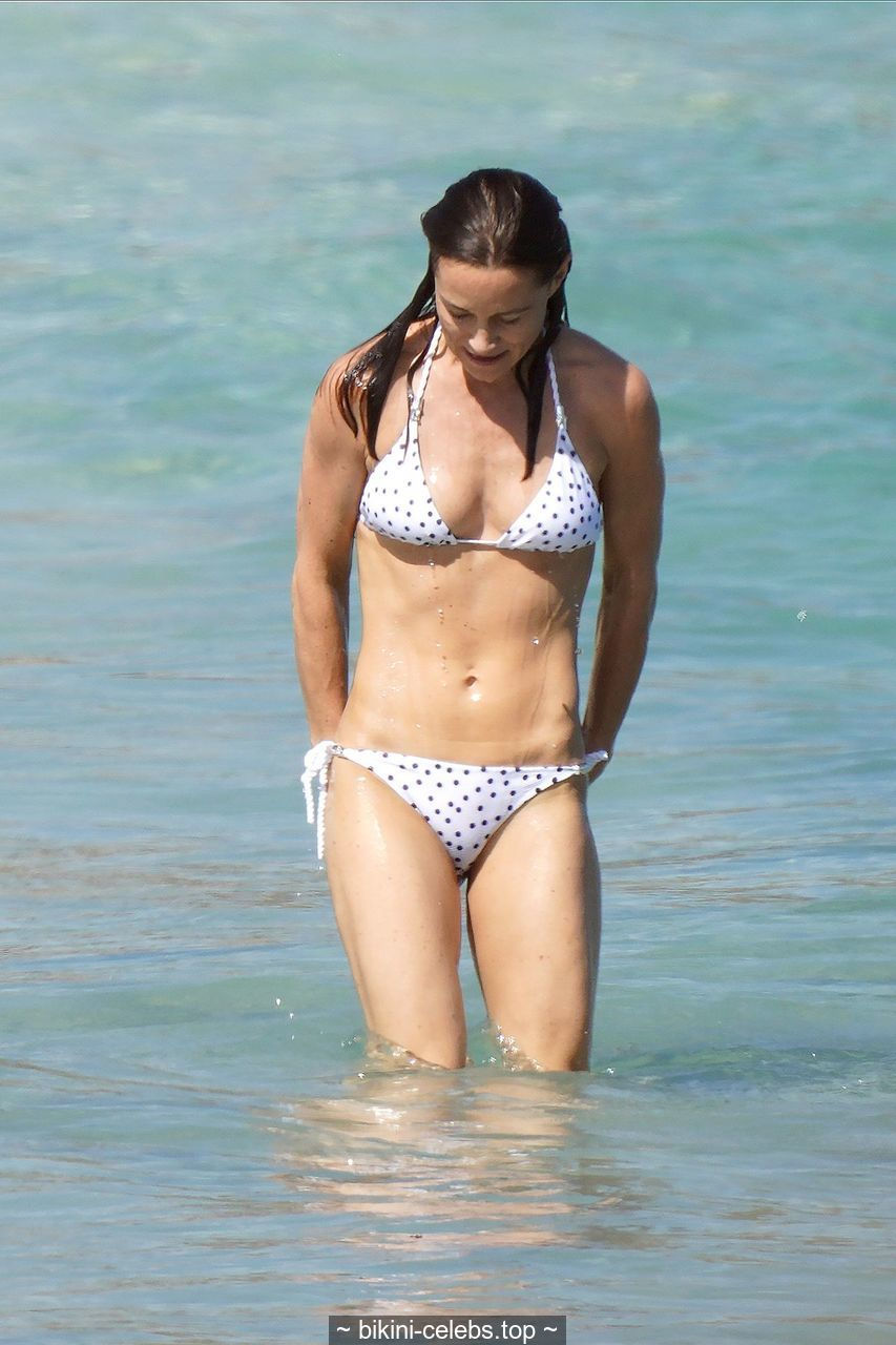 Pippa Middleton in polka dot bikini on the beach in St. Barts