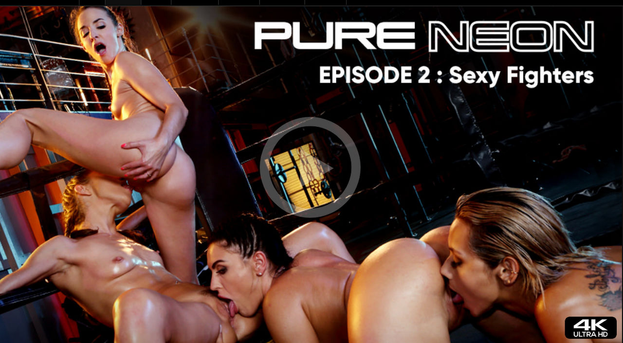 """Sexy fighters – 2nd episode of Rocco Siffredi's first lesbian video """"Pure Neon"""" with Alyss ..."""
