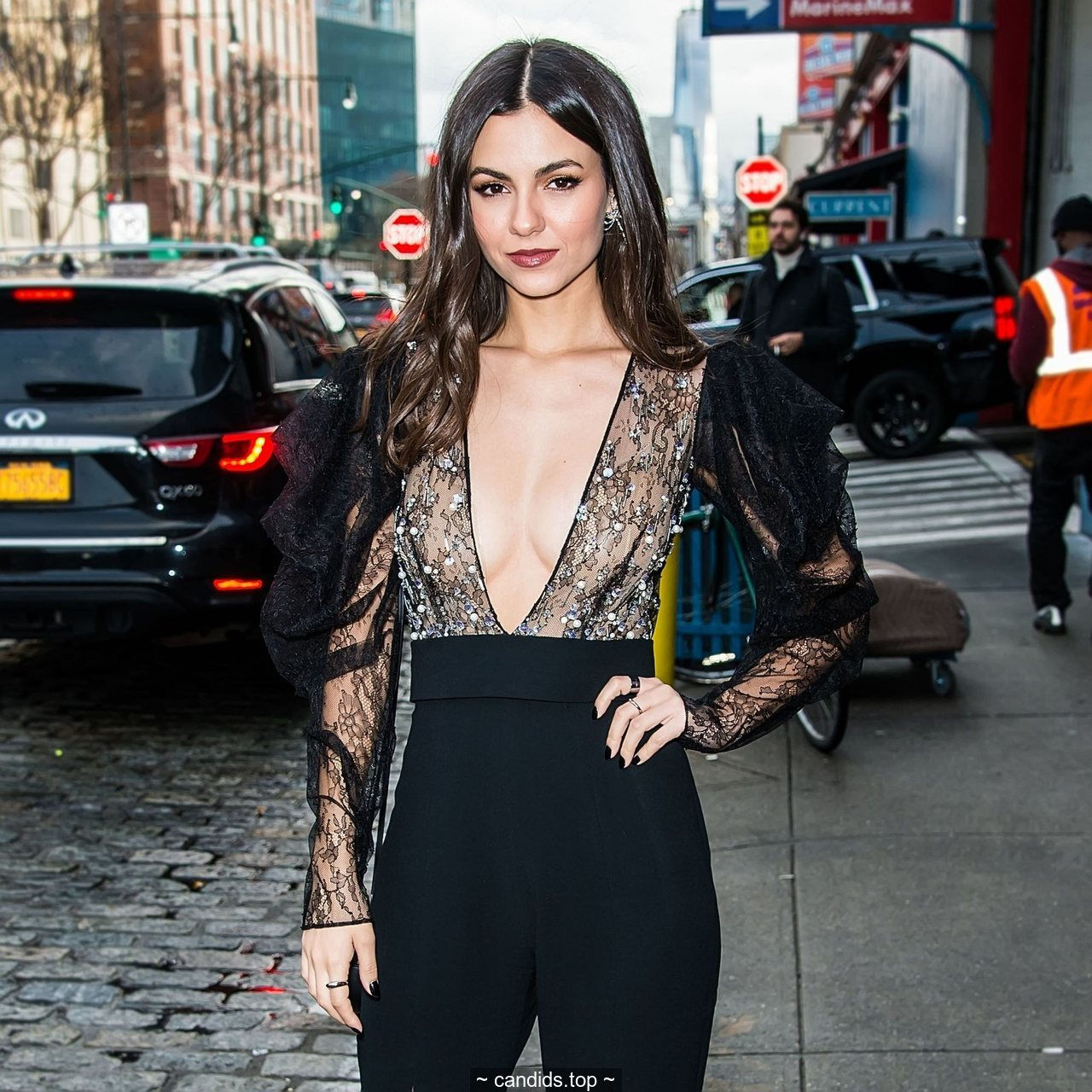 Victoria Justice in see through top arriving at the Pamella Roland fashion show