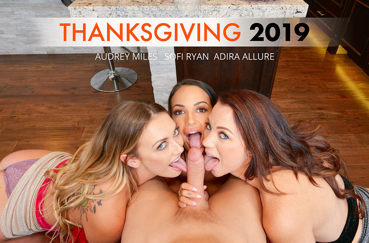 Adira Allure, Audrey Miles and Sofi Ryan give group blowjob to Sam Shock in a hardcore Naughty A ...