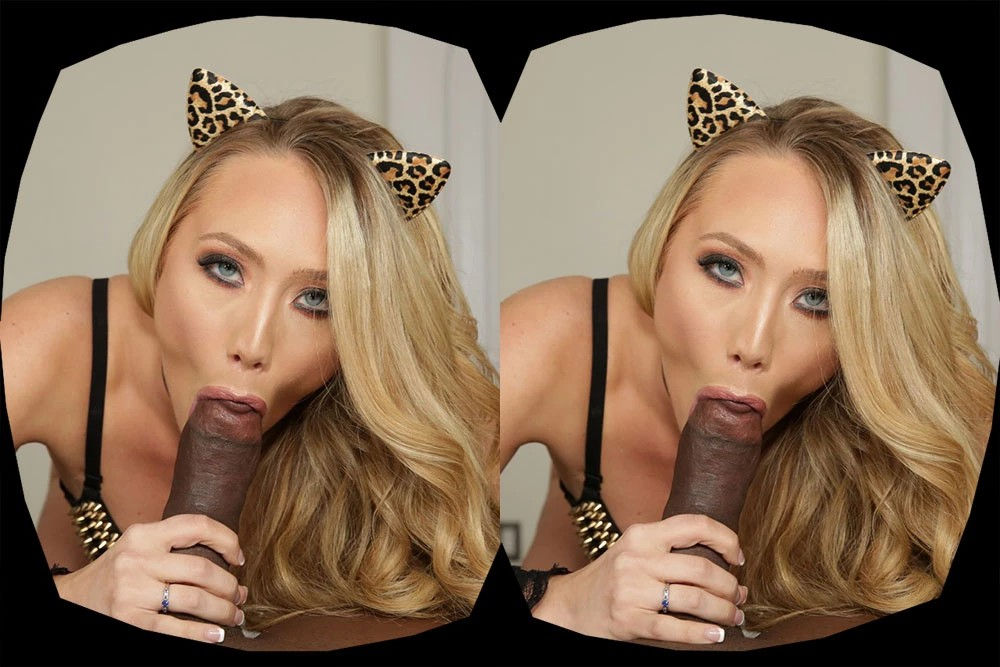 Young milf pornstar AJ Applegate gives blowjob in a hardcore interracial virtual reality porn vi ...
