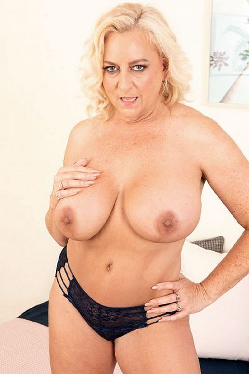 Busty mature granny pornstar blonde Charli Adams with big tits in panties from her  Pornmegaload ...