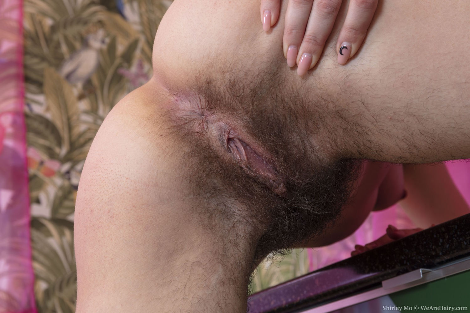 Milf pornstar Shirley Mo bushy pussy, hairy ass and thighs closeup