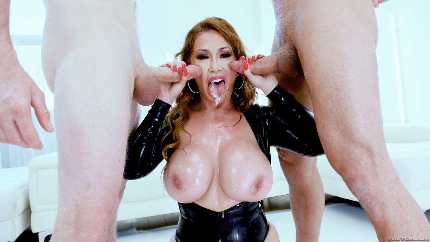Redhead asian mif pornstar Japanese Kianna Dior with huge boobs in latex bodysuit gets facial cu ...