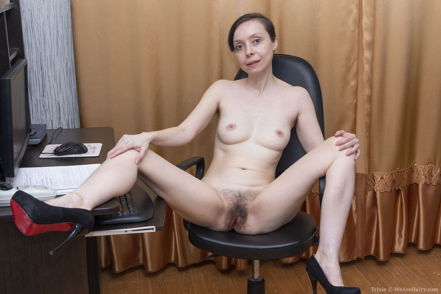 Short haired skinny milf with long legs in Louboutin high heels Trixie's bushy pussy and hairy ass