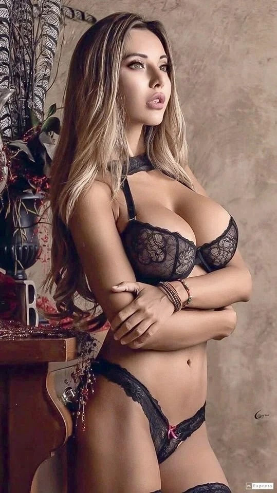 hot blonde girl with big tits in sexy lingerie